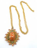 Vintage Pink Rhinestone And Red Stone Pendant And Necklace.